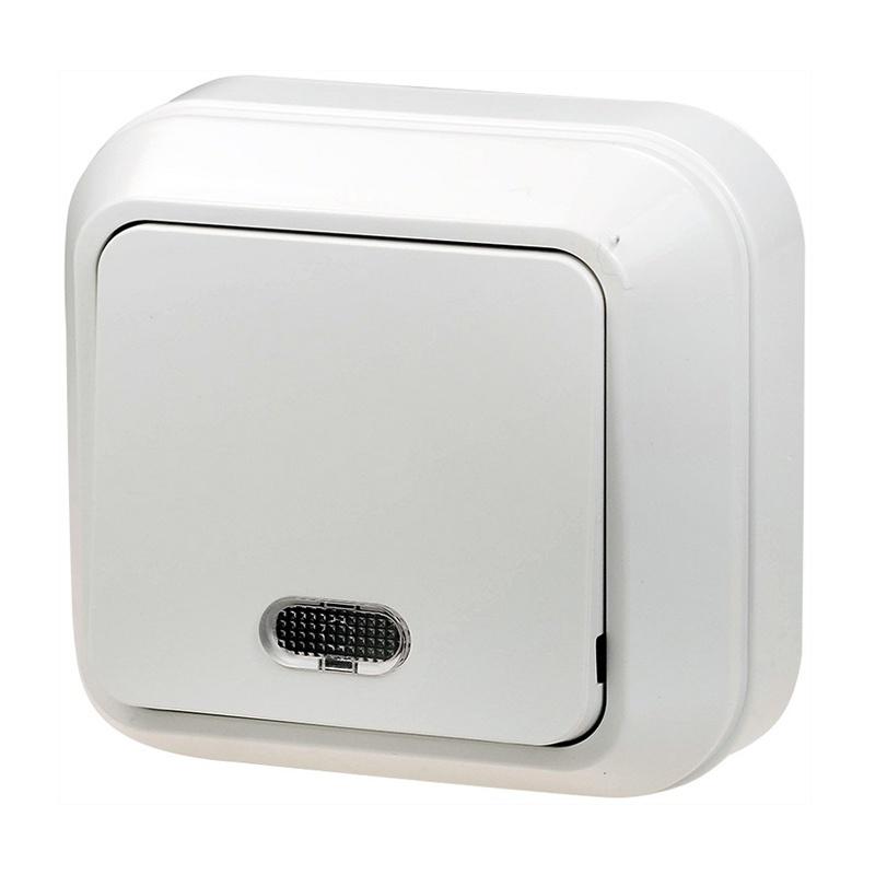Выключатель о/у Makel 45121, 1 клавиша, 10А, 230В, IP20, белый