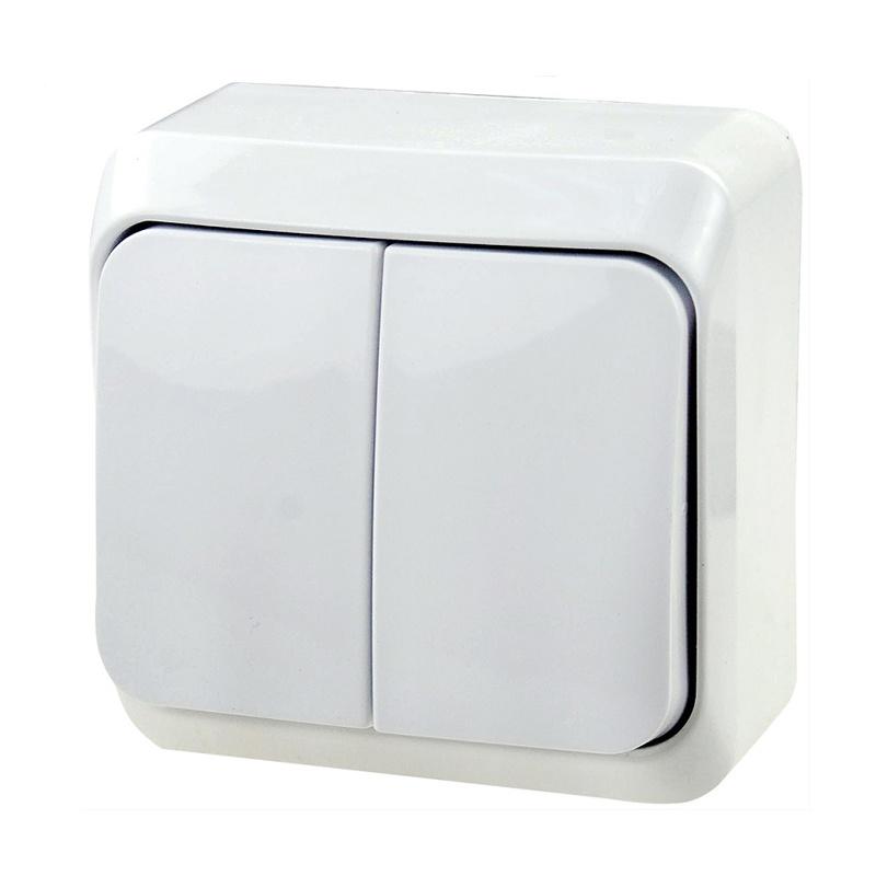 Выключатель о/у Makel 45103, 2 клавиши, 10А, 230В, IP20, белый