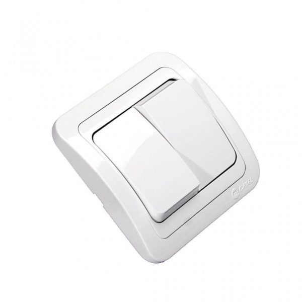 Выключатель с/у Makel Mimoza 12003, 2 клавиши, 10А, 230В, IP20, белый