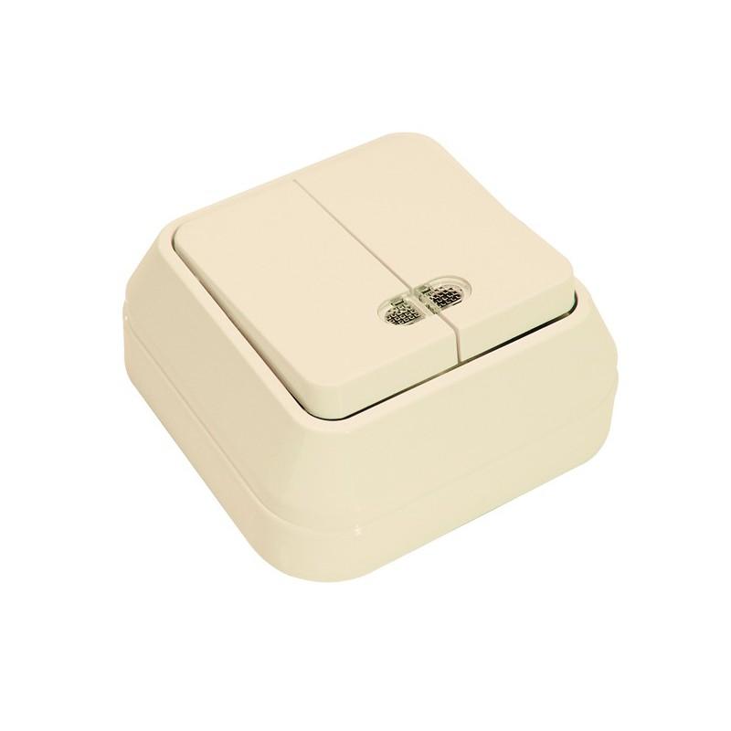 Выключатель о/у Makel 45223, 2 клавиши, 10А, 230В, IP20, кремовый