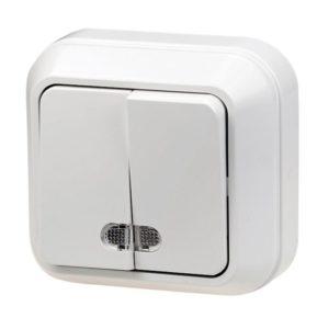 Выключатель о/у Makel 45123, 2 клавиши, 10А, 230В, IP20, белый