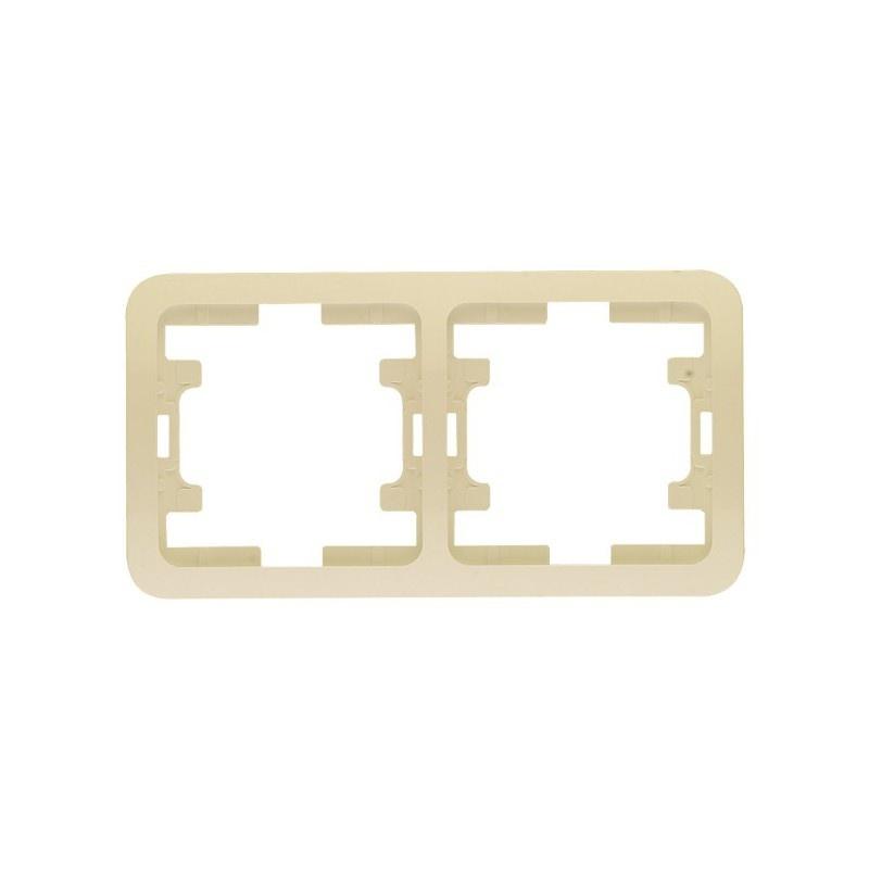 Рамка 2-х постовая горизонтальная Makel Mimoza 32012 IP20, кремовая