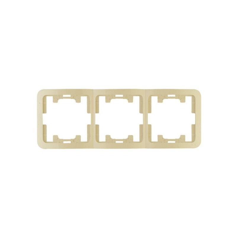Рамка 3-х постовая горизонтальная Makel Mimoza 32013 IP20, кремовая