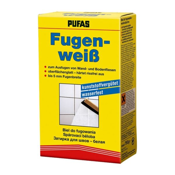 Затирка для швов между плитками Pufas Fugenweiss, белая, 0,75 кг