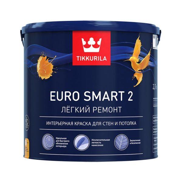 Краска в/д для стен и потолков EURO SMART 2 VVA (2,7 л)
