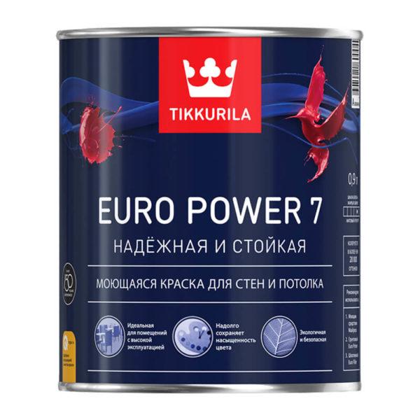 Краска в/д интерьерная EURO POWER 7 A моющаяся (0,9 л)