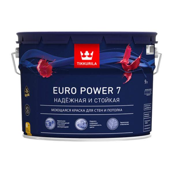 Краска в/д интерьерная EURO POWER 7 C моющаяся (9 л)