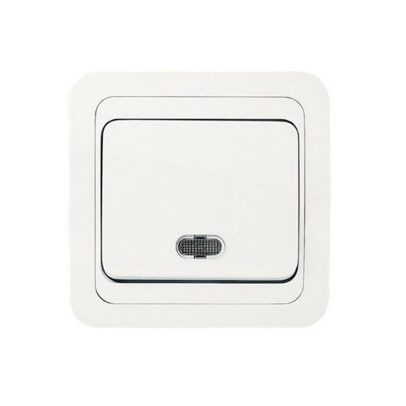 Выключатель с/у Makel Mimoza 12021, 1 клавиша, 10А, 230В, IP20, белый