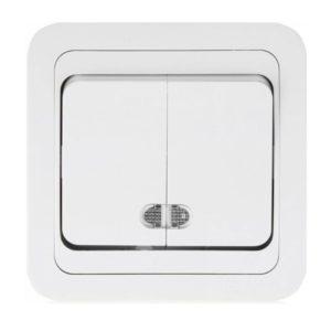 Выключатель с/у Makel Mimoza 12023, 2 клавиши, 10А, 230В, IP20, белый
