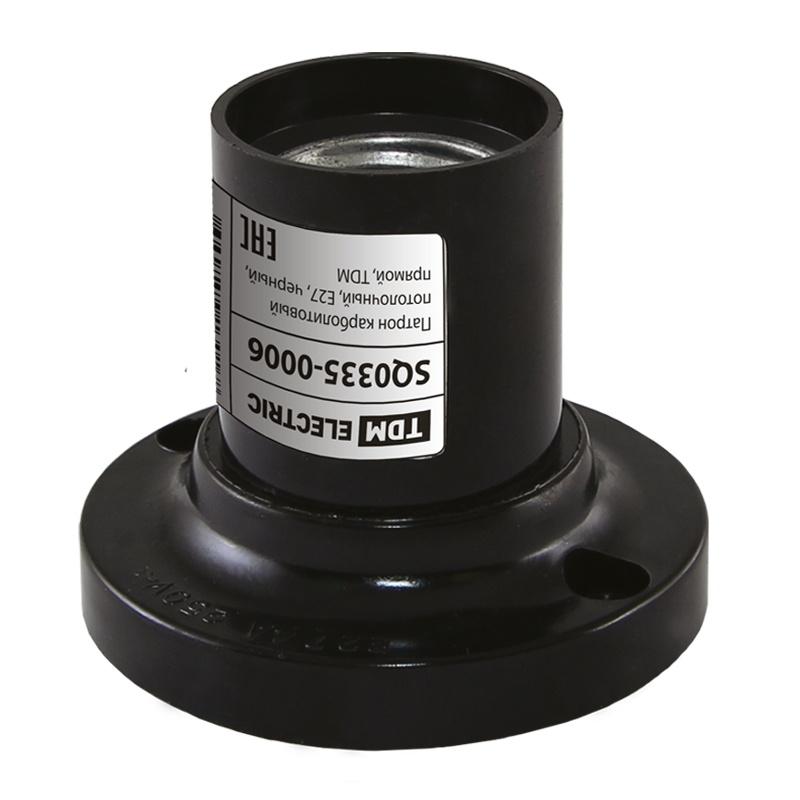 Патрон Е27 карболитовый потолочный прямой 4А, 230В, черный