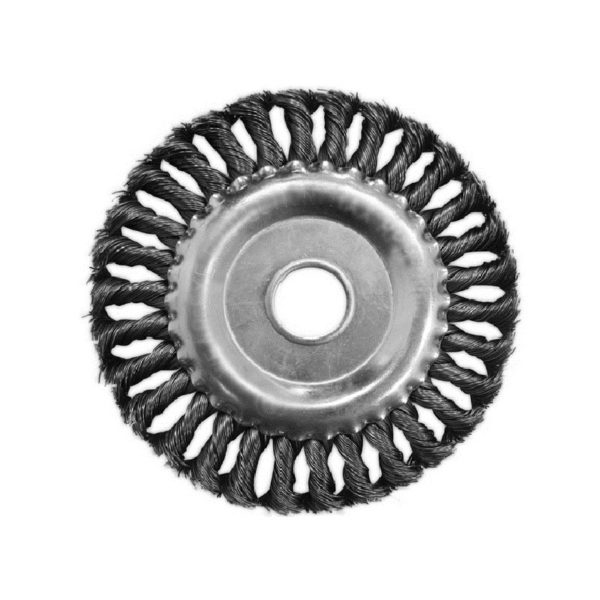 Щетка-крацовка дисковая витая 100 мм, посадка отверстие 16 мм
