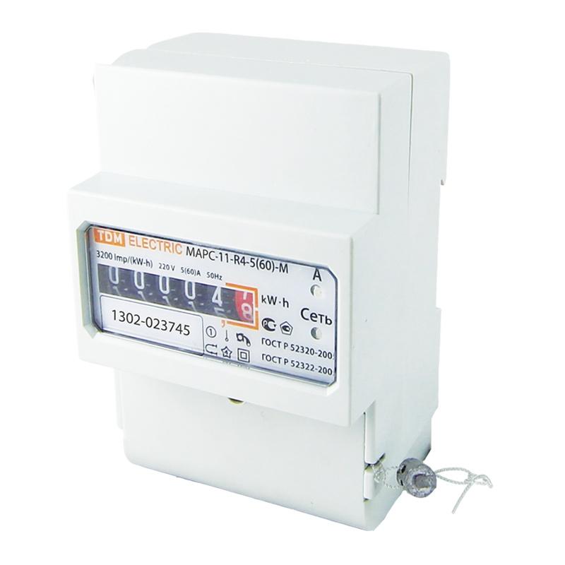 Счетчик электр. 5-60А, 230В, 1 кл.точн, 1 фазн, 1 тариф, мех.отчетн.устр., DIN-рейка, белый