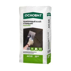Клей для плитки и керамогранита на пол Основит Базпликс AC10 (Т-10) цементный, 25 кг