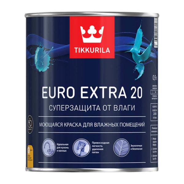 Краска в/д для влажных помещений EURO EXTRA 20 A (0,9 л)