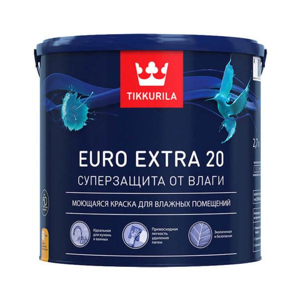 Краска в/д для влажных помещений EURO EXTRA 20 A (2,7 л)