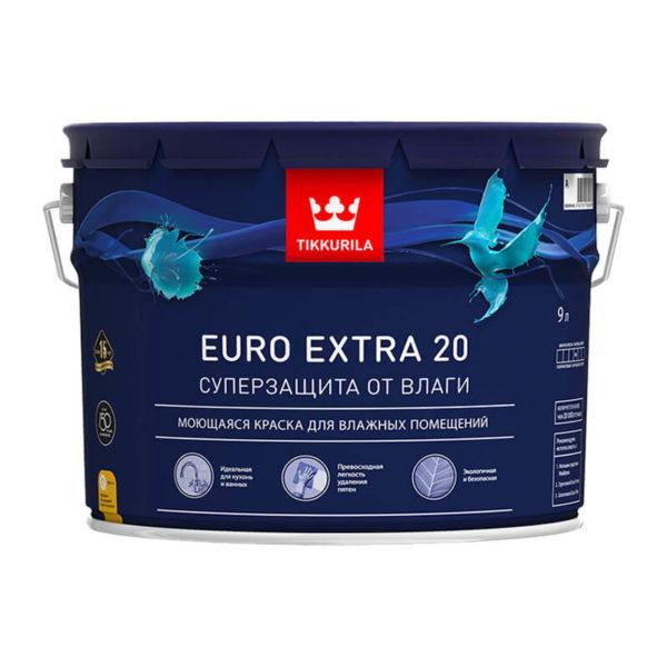 Краска в/д для влажных помещений EURO EXTRA 20 A (9 л)