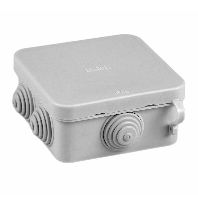 Коробка разветвительная о/у Hegel КР-2603-И 85х85х40мм, RAL7035, IP55 (6 вводов)