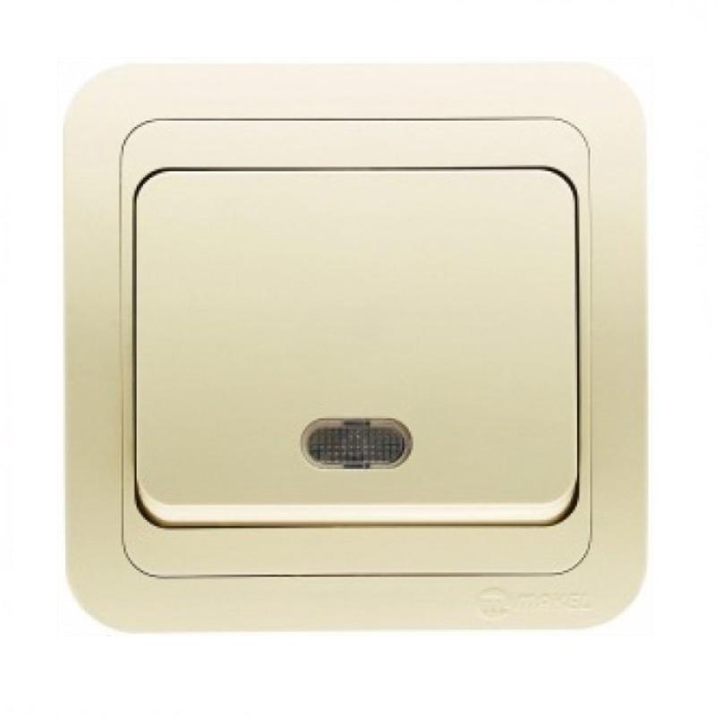 Выключатель с/у Makel Mimoza 25021, 1 клавиша, 10А, 230В, IP20, кремовый