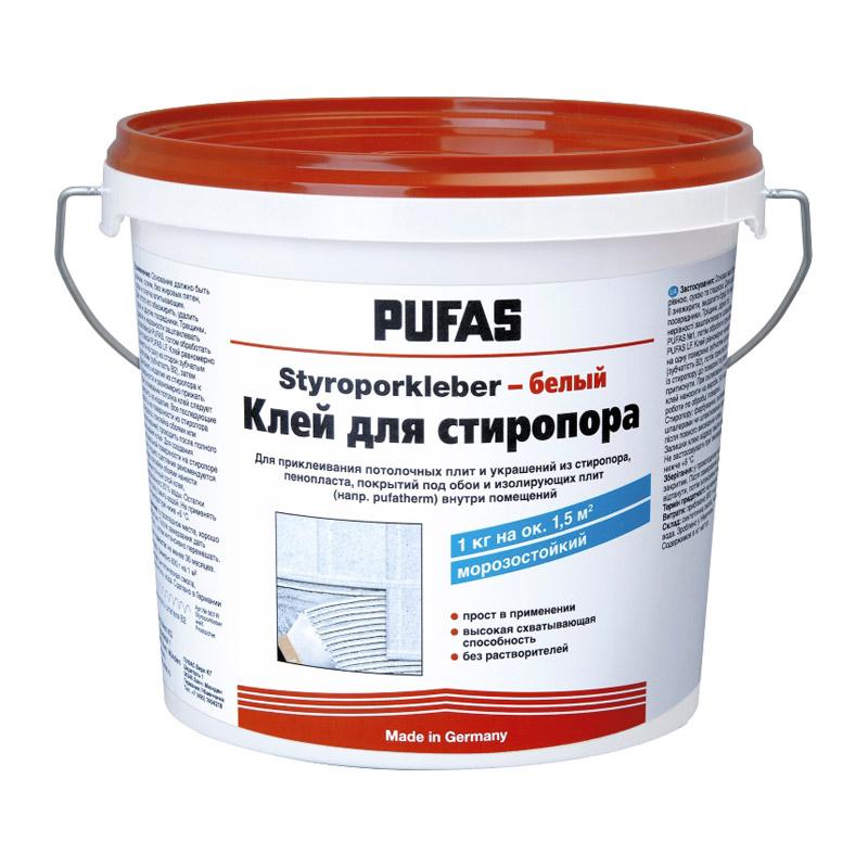 Клей для плит из стиропора PUFAS Styroporkleber белый (4 кг)