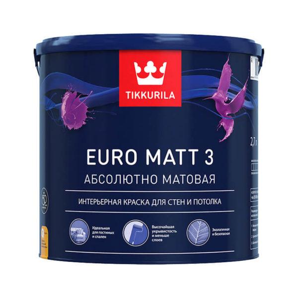 Краска в/д для стен и потолков EURO MATT 3 A (9 л)