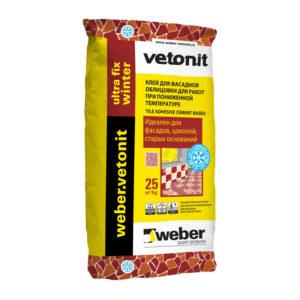 Клей для плитки цементный Вебер Ветонит Ultra Fix зимний, 25 кг