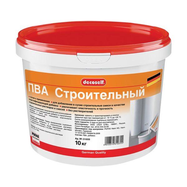 Клей ПВА Decoself cтроительный пластификатор (10 кг)