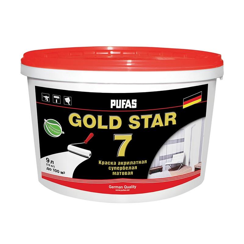 Краска в/д GOLD STAR 7 акрилатная супербелая (9 л)