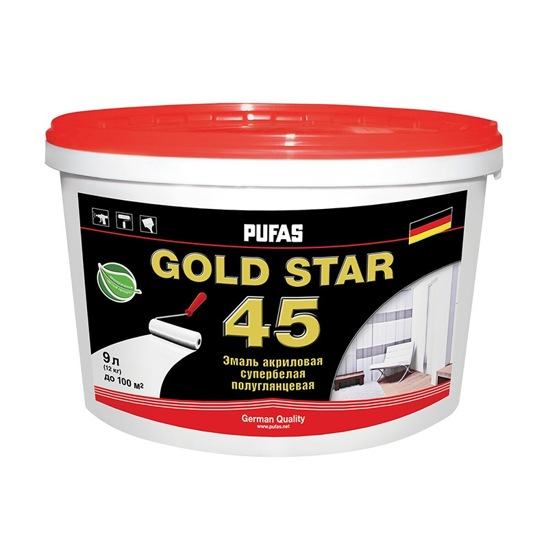 Краска в/д GOLD STAR 45 акриловая супербелая (9 л)