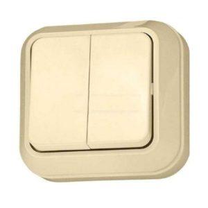 Выключатель о/у Makel 45203, 2 клавиши, 10А, 230В, IP20, кремовый