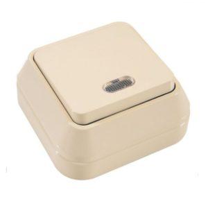 Выключатель о/у Makel 45221, 1 клавиша, 10А, 230В, IP20, кремовый
