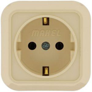 Розетка о/у Makel 45208, 1 гнездо, с/з, 16А, 230В, IP20, кремовая