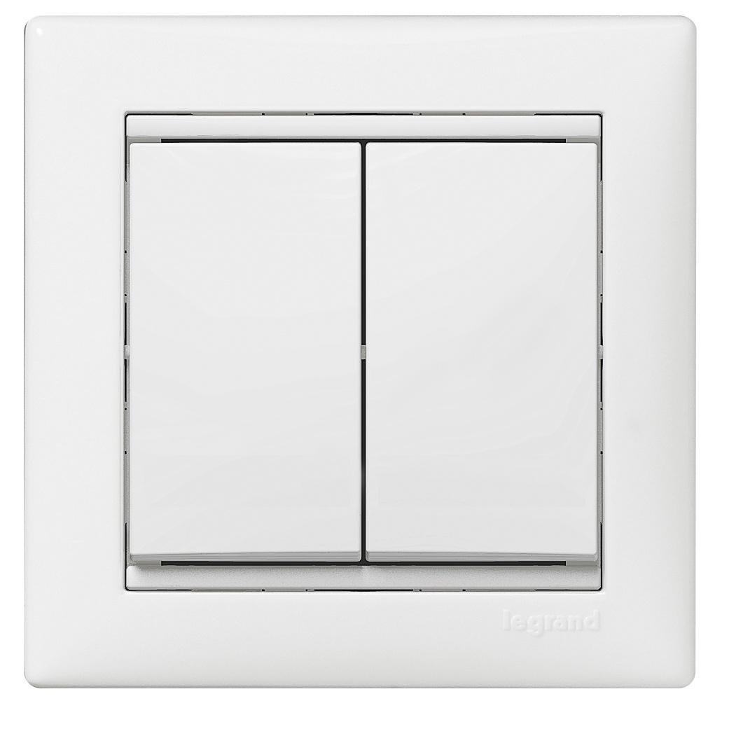 Выключатель в рамку с/у Legrand Valena 694265, 2 клавиши, 10А, 230В, IP20, белый
