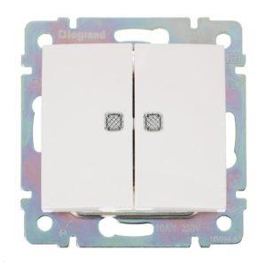 Выключатель в рамку с/у Legrand Valena 694290, 2 клавиши, 10А, 230В, IP20, белый