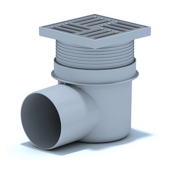 Трап пласт. регул.гориз. d=110 мм 150х150 мм, мет.решеткой, гидрозатвор