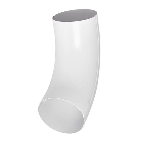 Колено трубы, металл, d=90 мм, белый