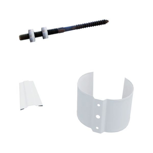 Держатель трубы, металл (на кирпич), d=90 мм, белый