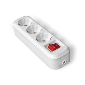 Колодка 3 гнезда с/з и выключателем, АВС-пластик, белая S303