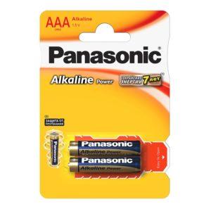 Элемент питания алкалиновый Panasonic, тип LR03/ААА, 1,5В (уп. 2 шт)