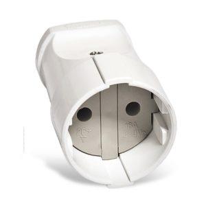 Штепсельное гнездо разборное А115 230В, 10А, б/з, ABS-пластик, белое
