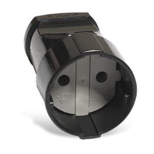 Штепсельное гнездо разборное А0115 230В, 10А,б/з, ABS-пластик, черное