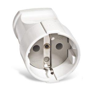 Штепсельное гнездо разборное А102 230В, 16А, с/з, ABS-пластик, белое