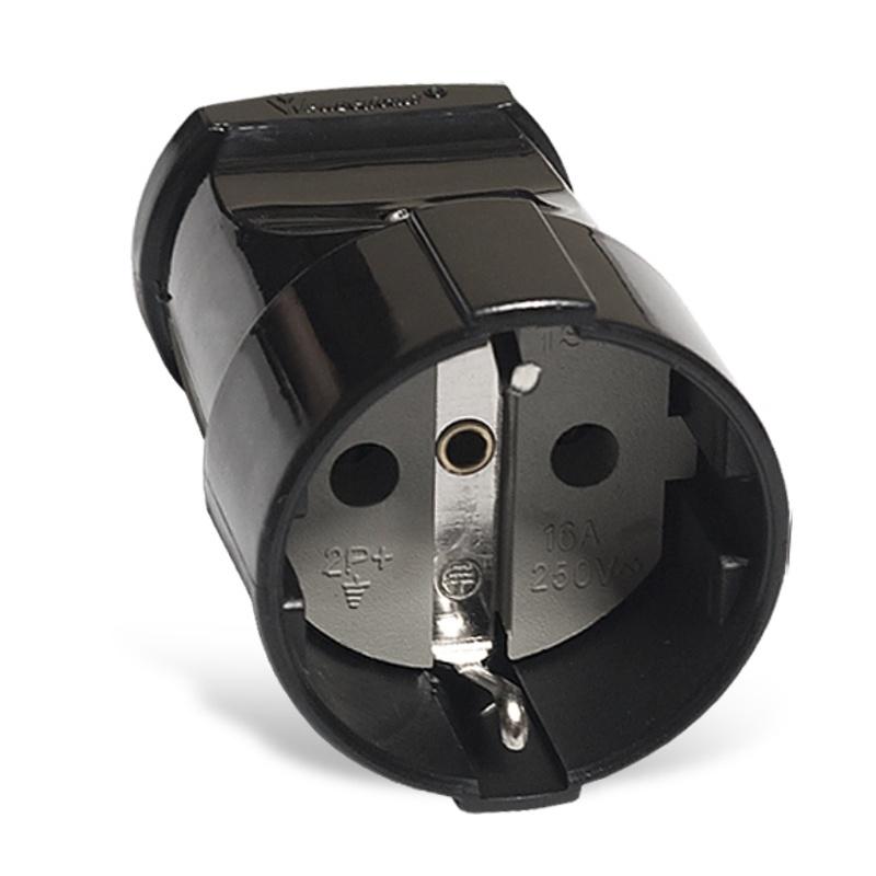 Штепсельное гнездо разборное А1020 230В, 16А, с/з, ABS-пластик, черное