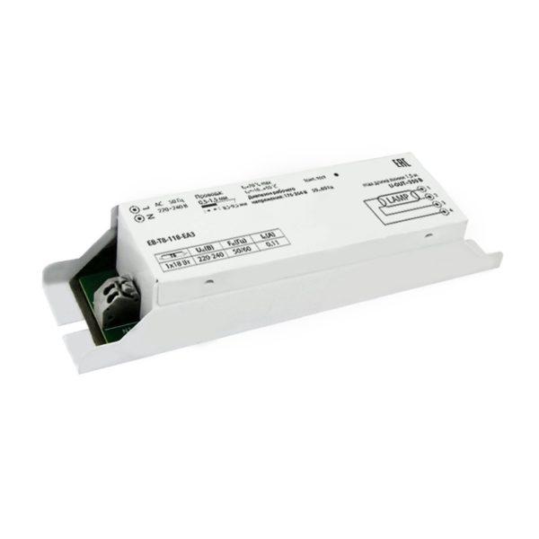 Электронный балласт ЭПРА д/люминесц.ламп Т8 (2х18Вт), тип цоколя G13, 230В, метал. IP20