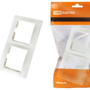 Рамка 2-х постовая горизонтальная TDM Таймыр SQ1814-0026 IP20, белая