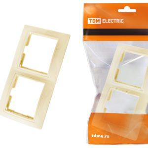 Рамка 2-х постовая горизонтальная TDM Таймыр SQ1814-0126 IP20, слоновая кость