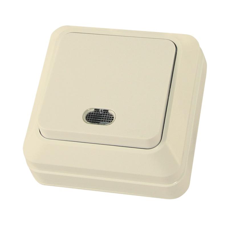 Выключатель о/у TDM Ладога SQ1801-0010, 1 клавиша, 10А, 230В, IP20, слоновая кость