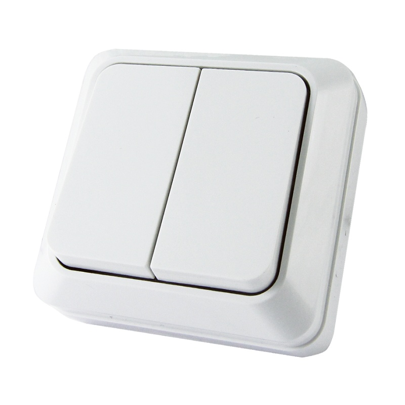 Выключатель о/у TDM Ладога SQ1801-0003, 2 клавиши, 10А, 230В, IP20, белый