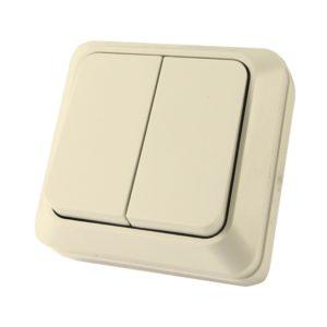 Выключатель о/у TDM Ладога SQ1801-0004, 2 клавиши, 10А, 230В, IP20, слоновая кость