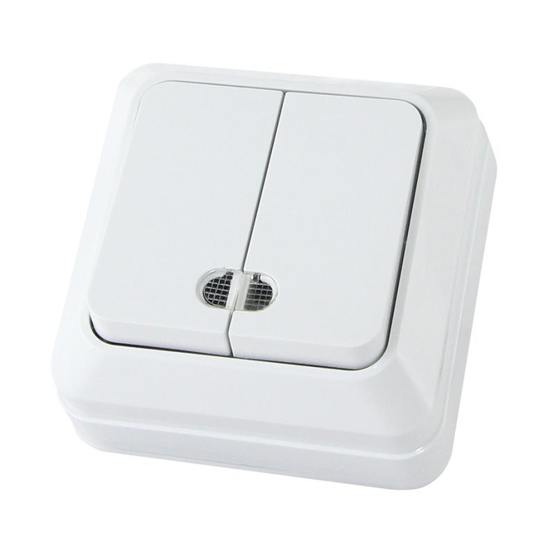 Выключатель о/у TDM Ладога SQ1801-0007, 2 клавиши, 10А, 230В, IP20, белый
