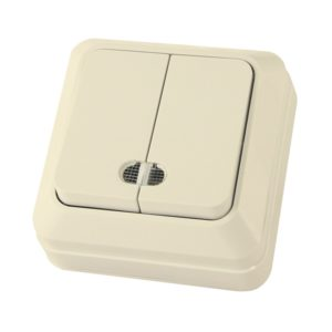 Выключатель о/у TDM Ладога SQ1801-0008, 2 клавиши, 10А, 230В, IP20, слоновая кость